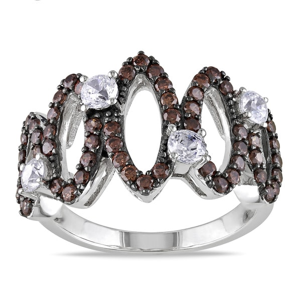 M by Miadora Sterling Silver Brown and White Cubic Zirconia Ring