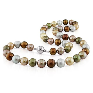 Miadora Sterling Silver Multi-color Pearl Strand Necklace (9.5-10mm)