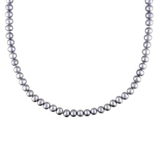 M by Miadora Silvertone Grey Pear Necklace (5-6 mm)