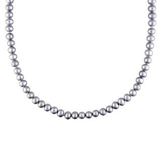 M by Miadora Silvertone Grey Pear Necklace (5-6 mm)