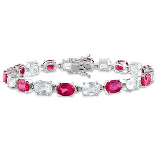 Miadora Sterling Silver Created Ruby and White Topaz Bracelet