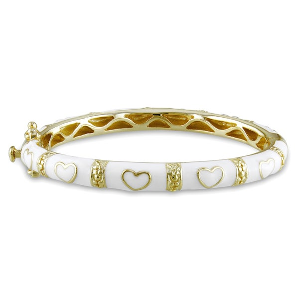 Miadora Gold Plated Silver Baby White Enamel Heart Bangle