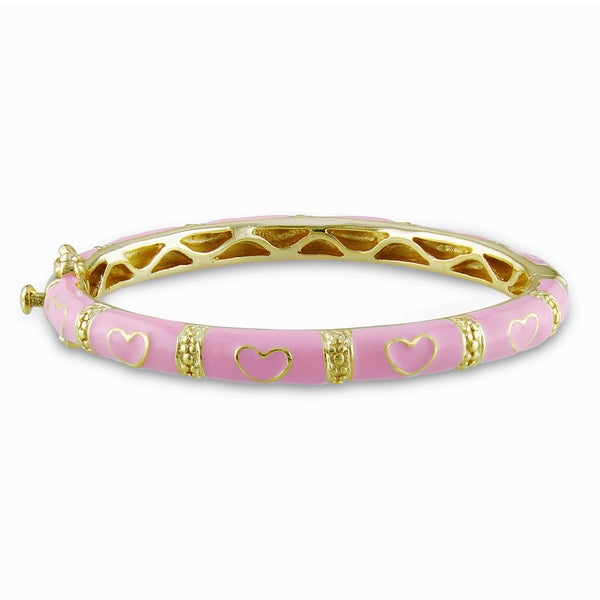 Miadora Goldplated Silver Baby Pink Heart Bangle