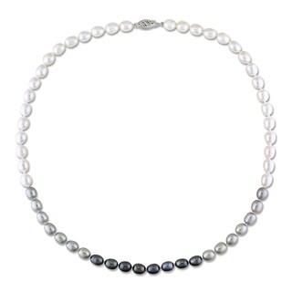 Miadora 14k White Gold Multi-color Cultured Freshwater Pearl Necklace (6-7 mm)