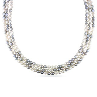 Miadora Gray and White Cultured Freshwater Pearl Necklace (5-6 mm)