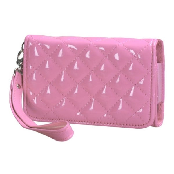INSTEN Pink Quilted Wallet Phone Case Cover for Apple iPhone 4/ 4S