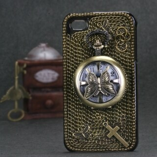INSTEN Butterfly Pocket Watch 3D Diamante Phone Case Cover for Apple iPhone 4/ 4S