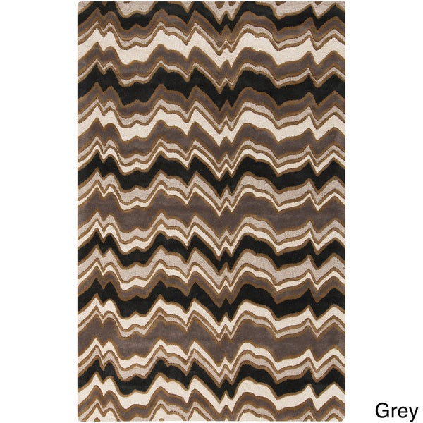 Candice Olson Modern Classics Hand-tufted Contemporary Grey Geometric Rug (9' x 13')