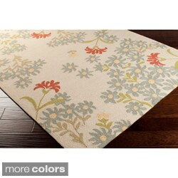 Paule Marrot Cannes Hand-hooked Indoor/Outdoor Ivory Floral Rug (8' x 10')
