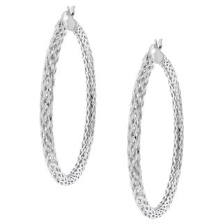 High-Polish Sterling-Silver Woven-Mesh Design Hoop Earrings