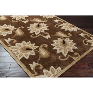 Hand-tufted Classic Brown Floral Rug (9' x 13')