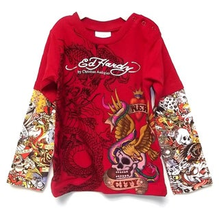Ed Hardy Boy's 'New York City' Double Sleeve Baby T-Shirt