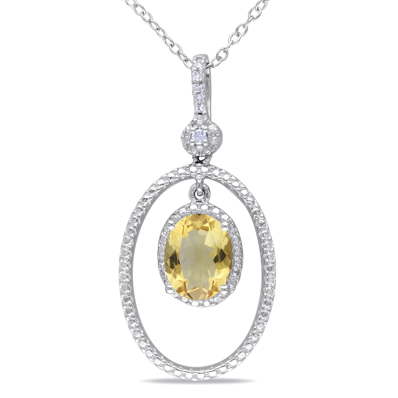 Citrine diamond necklace