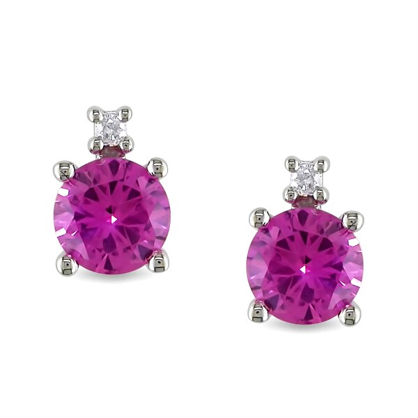 Miadora 10k White Gold Pink Sapphire and Diamond Earrings
