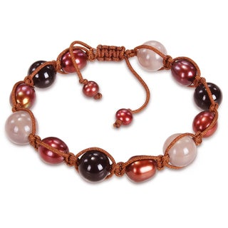 M by Miadora Brown Pearl and Agate Bead Macrame Bracelet (5-9 mm)