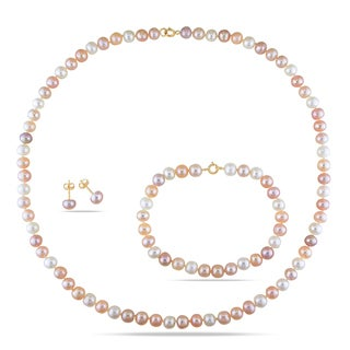 Miadora 10k Gold Pearl Necklace, Bracelet and Earrings 3-piece Set (5-6 mm)