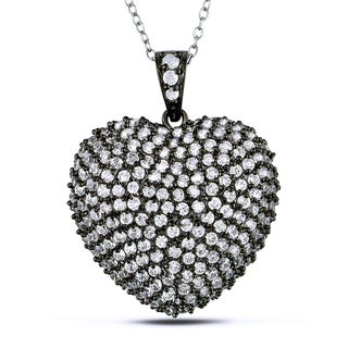 Miadora Sterling Silver Cubic Zirconia Heart Necklace