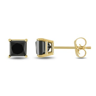 Miadora 10k Yellow Gold 1ct TDW Princess Black Diamond Earrings