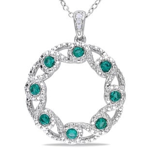 Miadora Sterling Silver Created Emerald and Diamond Circle Necklace