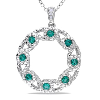 Miadora Sterling Silver Created Emerald and Diamond Circle Necklace