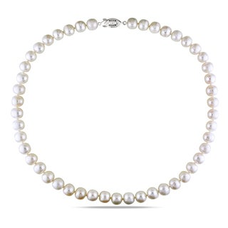 M by Miadora White Cultured Freshwater Pearl Necklace (9-10 mm)