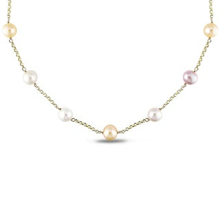 Miadora 14k Yellow Gold Pink Cultured Freshwater Pearl Tin-cup Necklace (9-10 mm)