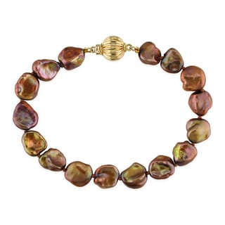 Miadora 14k Yellow Gold Keshi Brown Cultured Freshwater Pearl Bracelet (9-11 mm)