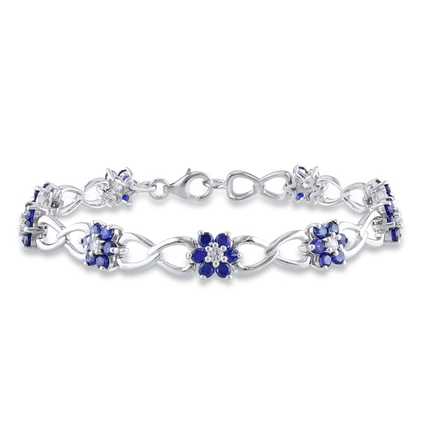 Miadora Sterling Silver Created White and Blue Sapphire Flower Bracelet