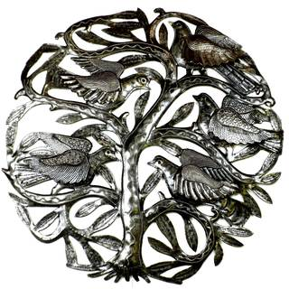 Handcrafted Tree of Life 3-D Birds 24-inch Metal Wall Art , Handmade in Haiti