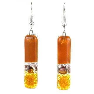Handmade Toffee Layers Fused Glass Earrings (Chile)