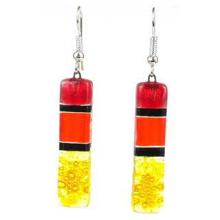 Handmade Red Spectrum Fused Glass Earrings (Chile)