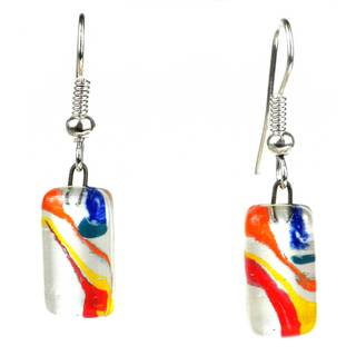Handmade Ripples of Color Small Glass Earrings (Chile)