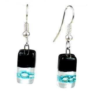 Handmade Black Tie Design Small Glass Earrings (Chile)