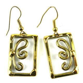 Handcrafted Open Scroll-work Brass Earrings (South Africa)