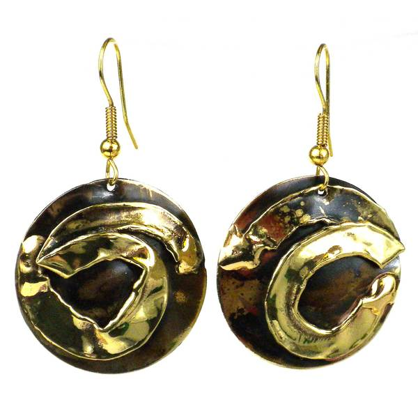 Handcrafted Twisted Ribbon Brass Earrings (South Africa)