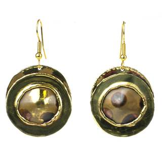 Handcrafted Encircled Spots Brass Earrings (South Africa)