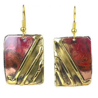 Handcrafted Lines Drawn Brass and Copper Earrings (South Africa)