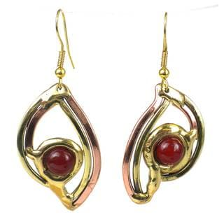 Handmade Carnelian Eye Earrings (South Africa)