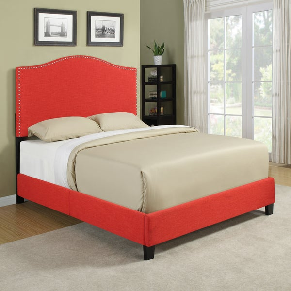 Portfolio Nicci Sunset Red Linen Queen Size Platform Bed