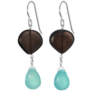 Ashanti Silver Caribbean Seas Blue Chalcedony Smoky Quartz Earrings (Sri Lanka)