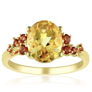 Miadora Yellow Silver Plated 3 5/8ct TGW Citrine Ring