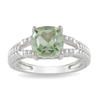 Miadora Sterling Silver Green Amethyst and Diamond Ring