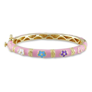 Miadora Goldplated Silver Children's Multi-color Enamel Flower Bangle