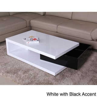 Glossy Functional Coffee Table with Storage Overstock