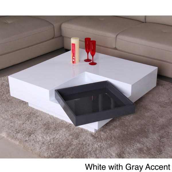 Glossy Functional Coffee Table with Accent Shelf