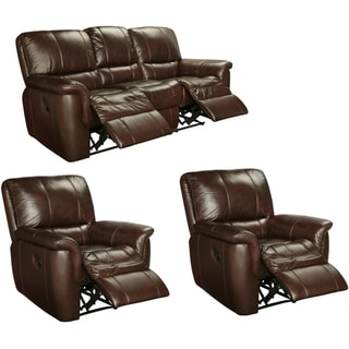 Ethan Chestnut Brown Leather Reclining Sofa and Two Recliner Chairs