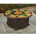 Daverton Outdoor Stained Glass Top Gas Fire Pit