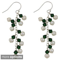 Sterling Silver Freshwater Pearl Crystal Earrings (3-4 mm)