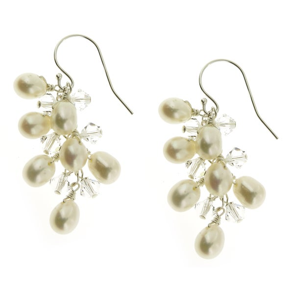 Sterling Silver Gold Plated FW Pearl Crystal Cluster Earrings