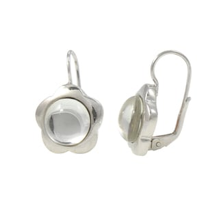 Sterling Silver Daisy Drop Leverback Earrings (Italy)